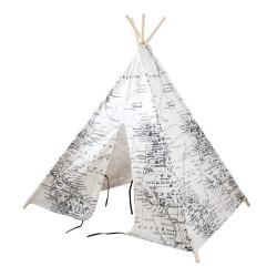 Wereldkaart Tipi Tent Zwart/wit