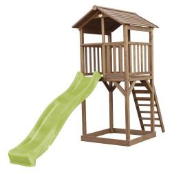 Beach Tower Speeltoren Bruin - Limoen groene Glijbaan