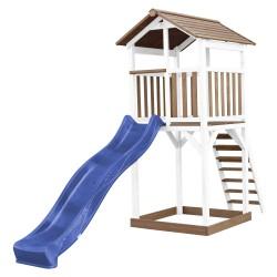 Beach Tower Speeltoren Bruin/wit - Blauwe Glijbaan